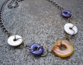 Eco-Friendly Statement Necklace - High Road - Recycled Chunky Brass Chain and Flat Faux Stone Donut Beads in Cream, Butterscotch and Purple