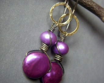 Magenta Pearl Earrings, Brass Earrings, Purple Coin Pearl Dangle Earrings, Wirewrapped Funky Mod