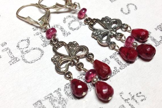 Red Ruby Sterling Silver Vintage Inspired Floral Chandelier Earrings