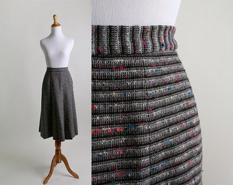 Vintage Tweed Skirt - Rainbow Speck Striped Pleated Skirt - Small 24 Inch Waist