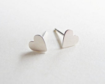 Heart Stud Earrings,,Romantic Jewelry,Sterling Silver Heart Earrings,Heart Jewelry,Sterling Silver Hypoallergenic Earring Studs (E231)