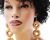 Wood Earrings, Hand Painted Earrings, Statement Earrings, Long Earrings, Big Wood Earrings, Colorful, Street Cred Graffiti Wood Earrings