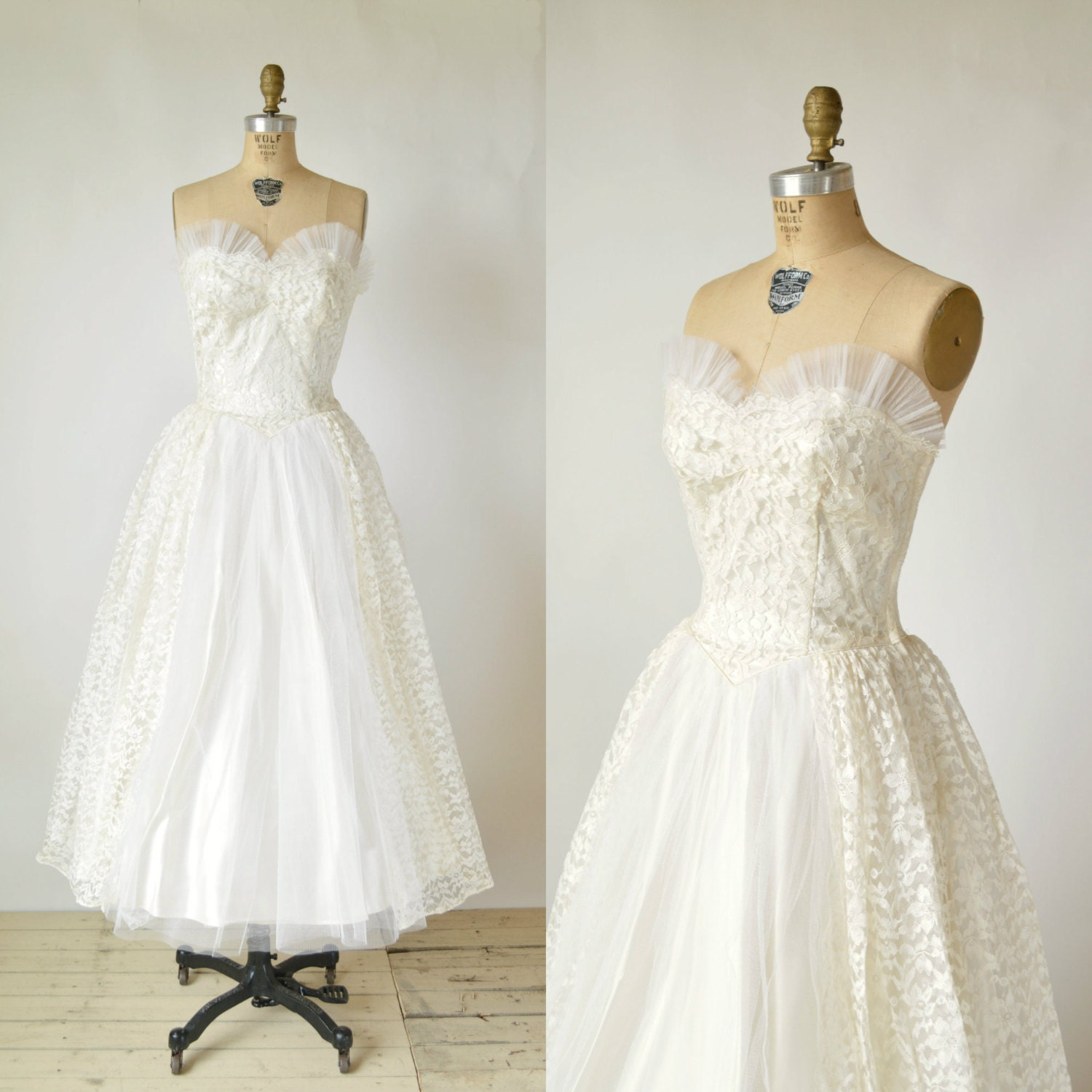 SALE /// 1950s Tea Length Wedding Dress Vintage Lace