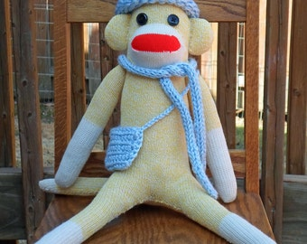 Traditional Rockford Red Heel Sock Monkey - Yellow - Stuffed Animal -  Blue Hat, Scarf, Purse