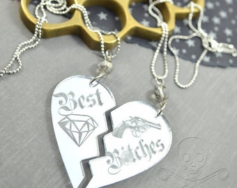 BEST B-TCHES - MATURE- Best Friends Two Necklace Set in Mirrored Silver Laser Cut Acrylic