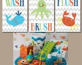 Nautical Wall Art, Kid BATHROOM Wash Brush Flush Nautical Bathroom Beach Wall Art, Ocean Crab Whale Octopus Set of 3 Boy BATHROOM