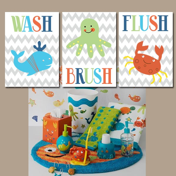Nautical Wall Art Kid BATHROOM Wash Brush Flush Nautical