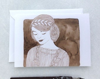 CLEARANCE Downton Abbey Card - Lady Mary illustration - Edwardian