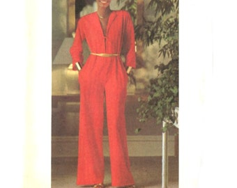 70s Disco Jumpsuit with Plunging Neckline / Kimono Sleeves - Sew & Go Vintage Sewing Pattern Butterick 5114 - Bust 38-40 Uncut