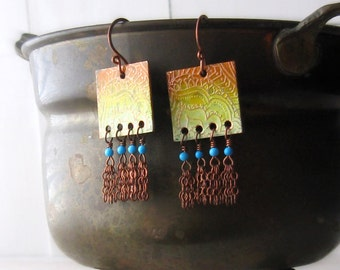 Henna etched copper earrings - altered metal earrings - Indian sunrise