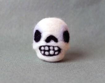 Needle Felted Skull Soft Sculpture Miniature - Made to Order - Felt Skull Figure - Halloween Decor - Felted Human Skull Art