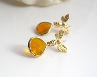 Golden Bee Earrings. Bee And Honey Drops Dangle Ear Accessory. Amber Glass TearDrops Earrings