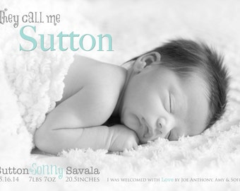 BIRTH ANNOUNCEMENT - They call me -   Baby Boy Announcement - Baby Girl Announcement  -  Photo, Printable, Digital, - Hi Birth Announcement
