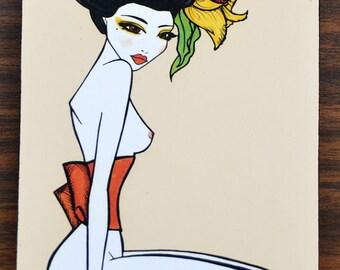 Pinup girl art print by Brenda Dunn Geisha, Asian, nude, wall art, wall decor, wall hanging, bedroom art, bathroom decor  'Obi'