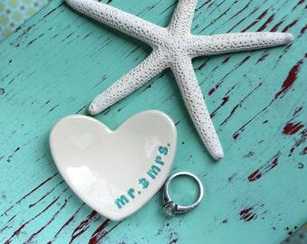 Heart Mini Ceramic Dish with Mr & Mrs