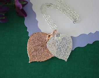 Double Aspen Leaf Necklace, Aspen Leaf Necklace, Double Leaves, Silver Leaf, Rose Gold Leaf, Real Leaf, DLC11