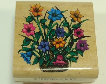 Basket Of Flowers Wood Mounted Rubber Stamp By Spy Kids