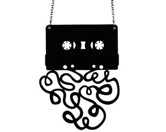 The Mixtape Breakup Necklace - Laser Cut Acrylic - Cassette Tape (C.A.B. Fayre Original Design)