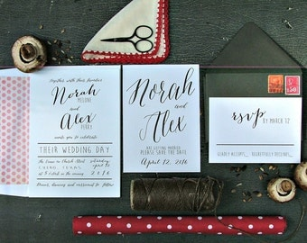 Black and white modern Wedding Invitations: simple wedding, whimsical wedding