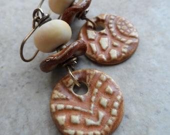 Caffé Latte ... Ceramic, Lampwork and Brass Wire-Wrapped Earthy, Boho Earrings