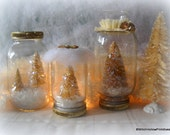Bottle Brush Tree Cottage Chic Gold Buttermilk Cream set vintage holiday elegant decor snow globe candle collection WRR FREE Shipping