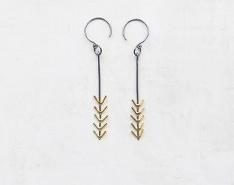 Arrow Earrings with 5 18k gold arrows