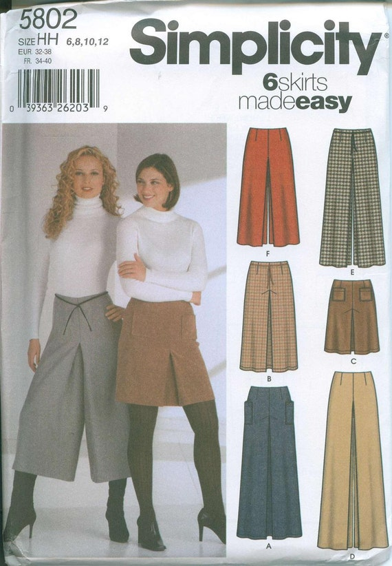 simplicity 5802 palazzo pants capris skirt front inverted