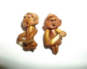 Hand Crafted Elf Pendant With Crystal Clay Mud Men Pair Bead Jewelry Supply Pagan Wicca 2 Pieces OOK One of a Kind