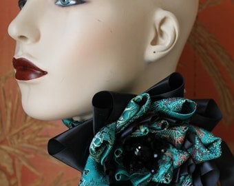 Poppy of the East - Leather Choker with Vintage Chinese Silk and Satin Petaled Flower with Swarovski Jet Stamen. - Ready to Ship