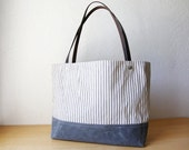 Ticking Stripe and Waxed Canvas Tote