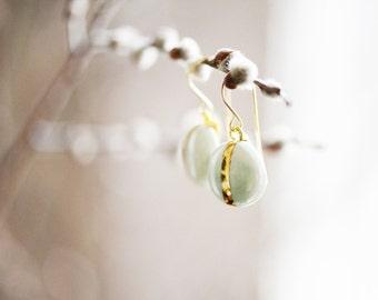 22k Gold Navigation Porcelain Turquoise Round Earrings - Ceramic Earrings, Nickel Free, 14k gold filled