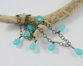 Oxidized sterling silver with chalcedony stone necklace