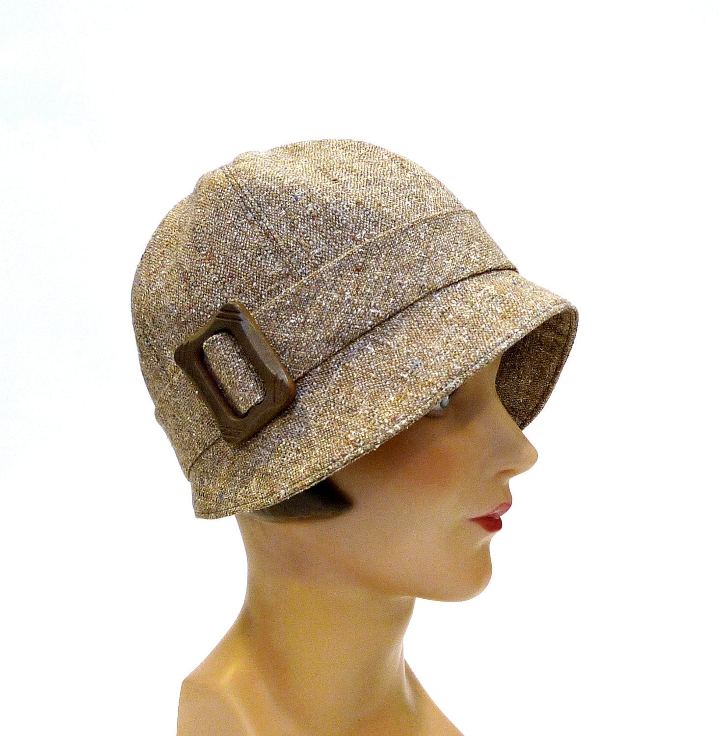 1920s cloche hat in taupe wool s cloche hat made