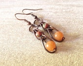 Citrus Ladder Antiqued Copper Earrings Handmade Jewelry San Diego California Kila Rohner Designs Orange and Green Earrings
