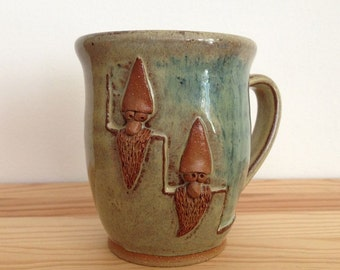 Sneaky Gnomes - 15 oz Mug - Two gnomes on stairs Cream and Blue