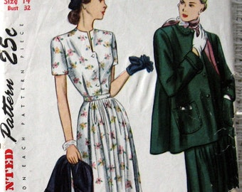 Vintage Womens 1950s Dress Pattern Double As A Maternity Dress With Short Cut Swing Coat Simplicity 2302 Sz 14