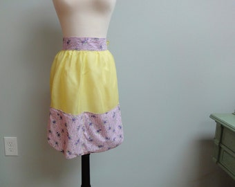 Vintage 50s Cotton Organdy Apron, Sheer Acid Yellow and Lavender Cotton Pockets