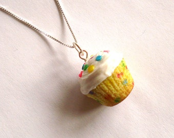 Rainbow Confetti Cupcake Necklace Birthday Cupcake Necklace Cupcake Jewelry Kawaii Jewelry - Polymer Clay Miniature Food Jewelry