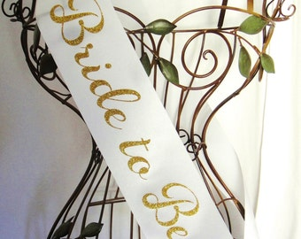 Sparkle Bride to Be Sash - Gold or Silver
