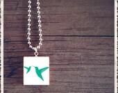 Scrabble Tile Art Pendant - Humming Bird Kiss Blue - Scrabble Jewelry Charm - Customize