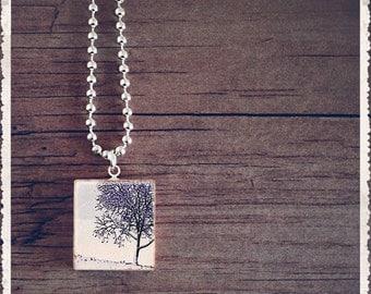 Scrabble Game Tile Jewelry - Lavender Tree - Scrabble Pendant Charm - Customize