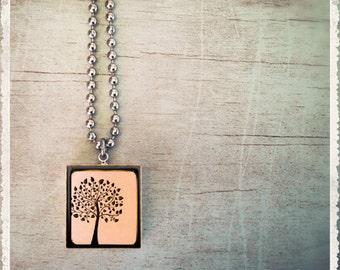 Scrabble Tile Necklace - Through The Viewfinder Tree - Scrabble Jewelry Art Pendant Charm