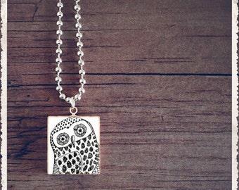Scrabble Tile Art Pendant Necklace - Mr Owl - Scrabble Jewelry Charm - Customize - Choose Your Style