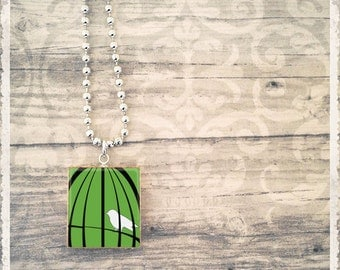 Scrabble Game Tile Necklace - Bird Cage Green - Scrabble Jewelry Pendant - Customize