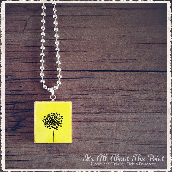 Scrabble Art Pendant - Yellow Abstract Flower - Scrabble Game Tile Necklace - Customize - Choose Your Style