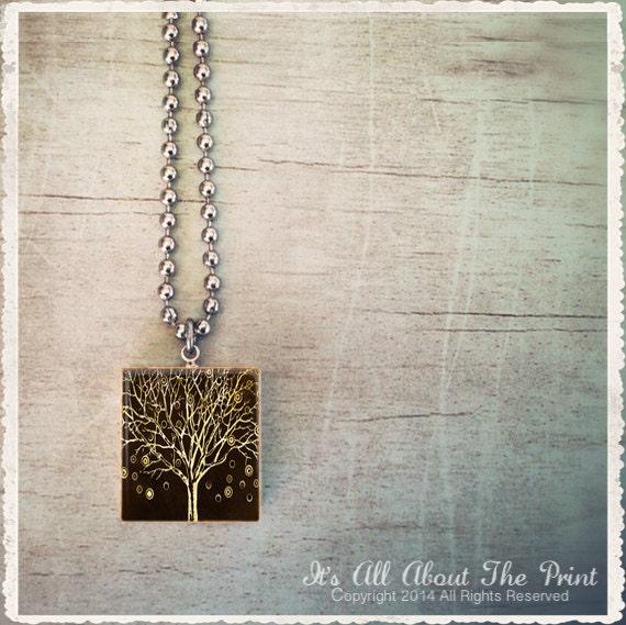 Scrabble Tile Art Pendant - Whimsical Art Series - Brown Velvet Tree - Scrabble Jewelry Charm - Customize