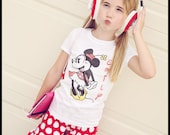 """Minnie Mouse knit  double ruffle  shorts 18 24 2 3 4 5 6 7 8 sewn with 3"""" ruffles red and white dot and custom shirt"""