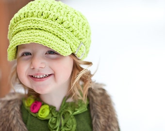 5 Sizes Lime Green Newsboy Baby Newsboy Hat Toddler Newsboy Cap Girls Newsboy Womens Newsboy Baby Girl Hat Toddler Girl Hat Crochet Buckle