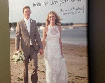 Your Photo Words Wedding Vows Art Canvas Gallery Wrap , Engagement, Bridal Shower, Anniversary Just Married Photo 18X24