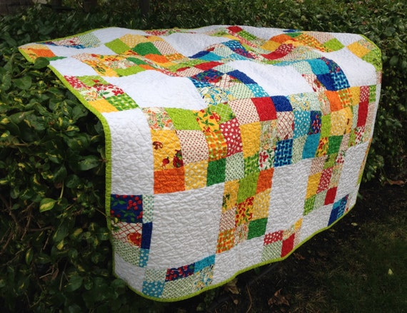 Eat Your Fruits and Vegetables Handmade Quilt Sofa Throw Table Topper